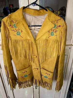 1950's vintage FRINGE LEATHER BEADED JACKET OWNED BY COWGIRL VELDENE STRAUSS