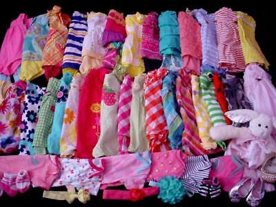62pc USED BABY GIRL NEWBORN 0-3 3-6 MONTHS SPRING SUMMER CLOTHES LOT