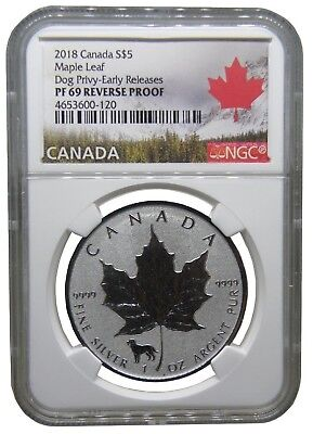 2018 Canadas Reverse Proof Dog Privy Mark NGC PF 69 Early Release b238