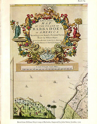 1965 VINTAGE MAP #84 BARBADOS DETAIL (shown in 1722) COLOR Art Print Lithograph