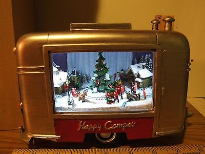 """Roman Inc Musical 9"""" With LED Christmas Camper Trailer - New Happy Camper"""