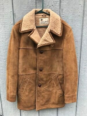 Vintage 1960's 70's LAKELAND Sherpa Lined Suede Leather Ranch Coat Jacket 42