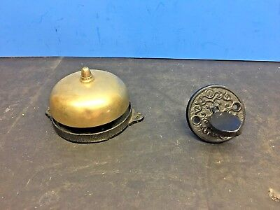 Beautiful Antique Victorian Ornate Cast Iron Mechanical Door Bell Pat 1872
