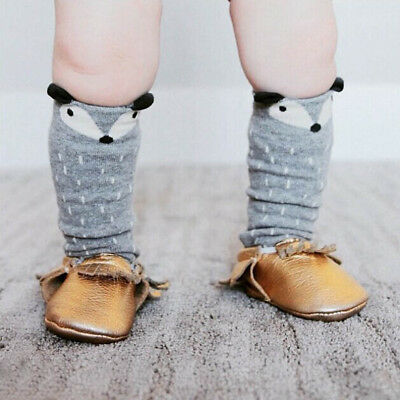 Toddlers Baby Kid Girl Fox Pattern Knee High Cotton Socks For Age 1-3 Years Gray