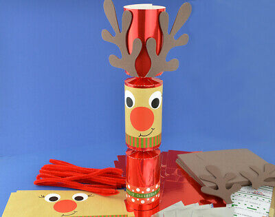 8 Red Foil Standy Uppy Rudolph Reindeer Make Your Own Christmas Crackers Kit