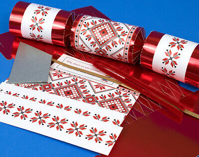 8 Red Foil Scandinavian Nordic Christmas Make Your Own Crackers Kit