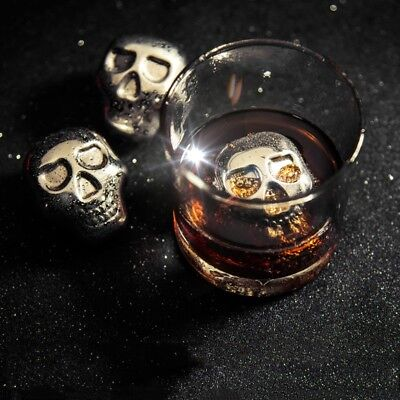 Stainless Steel Skull Ice Particles Drink Chiller Stones Ice Balls Cubes Wine