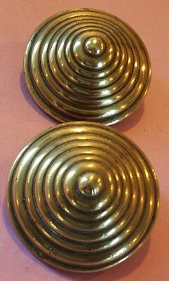 *a Good Pair Of Concentric Circle ~ Antique Bridle Rosettes~Horse Brasses*