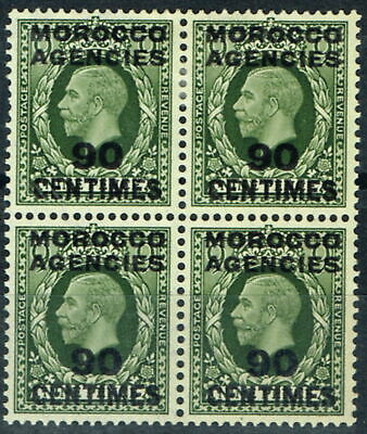 Morocco Agencies 1934 90c on 9d Olive-Green SG209 Fine & Fresh MNH & LMM Block