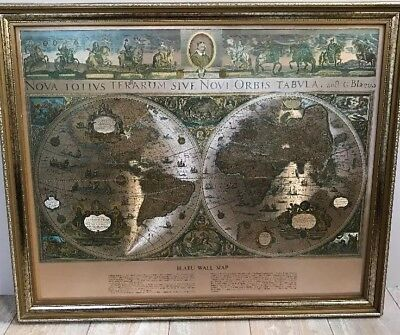 Vintage Framed Gold Foil Blaeu Wall Map of Old and New World 22.75 x 18.5