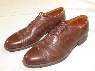 Vtg 40s Air Film Cap Toe Oxford Dress Shoes Sz 9 D 1940s USA Made US Royal Soles