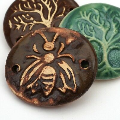 3 artist ceramic handmade brown & green tree of life, bee 2 hole components