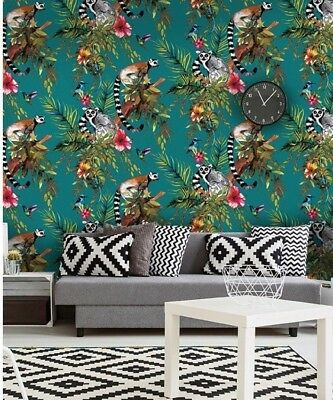 Holden Decor Lemur & Exotic Animals Rainforest Wallpaper - Teal Multi 12402
