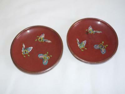 Two nice antique Chinese cloisonne dishes decorated with butterflies.