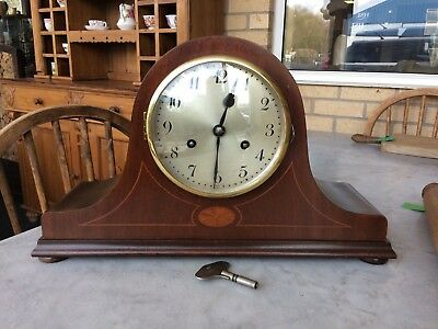Antique Mahogany Veneer Inlaid Striking Mantle Clock & Key Working Order C1930s