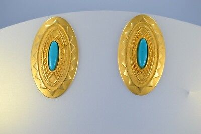 Vintage JJ 1988 Gold Tone TURQUOISE Egyptian Style oval Earrings