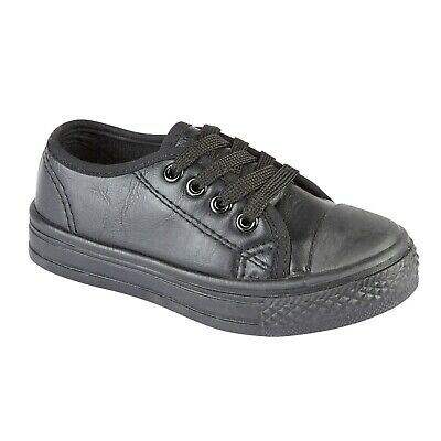 Boys Girls Infants Trainer Faux Leather Lace Up Trainers Children Shoes Sizes