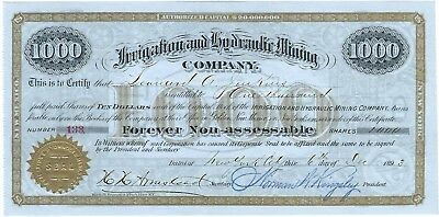 1893 Golden, New Mexico Territory mining company stock certificate