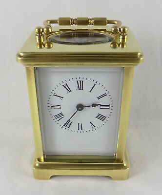 French 8 Day Brass Key Wind Carriage Clock - Fully Cleaned And Serviced