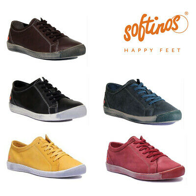 Softinos Isla Womens Leather Matt Casual Trainers Various Colours UK Size 3 - 8