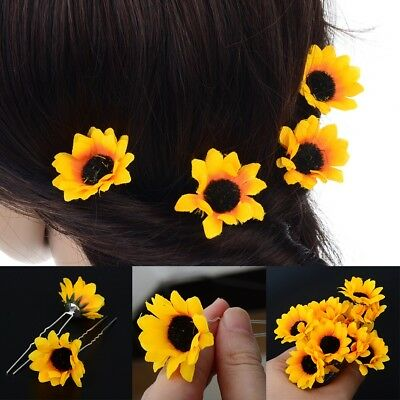 10Pcs Fashion Yellow Sunflower Hair Clips Hair Pins Wedding Bridal Prom Brooch
