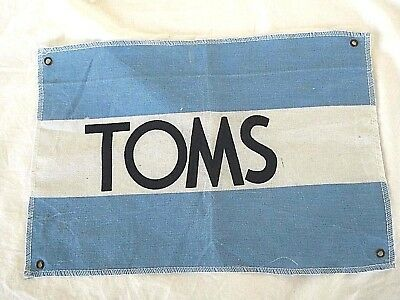 "TOMS Shoes Advertising Flag Sign Blue White Spell Out Store Display 13"" x 9"""
