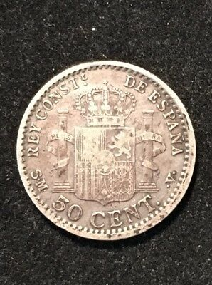 1900 Silver 50 Cents Alfonso Vii Spain Surprisingly Low Circulation Great Type