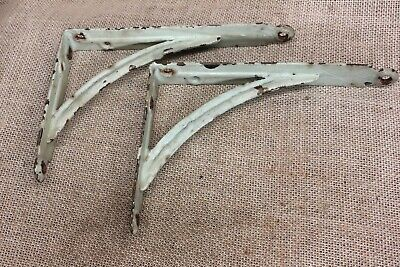"2 Shelf Brackets 5 X 7"" rustic mint green paint old vintage industrial barn find"