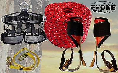"Tree Climbing Spike Set, Aluminum Pole Spurs Climbers Harness + 1/2"" Rope"