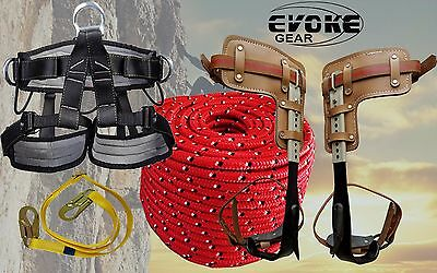 "Tree Climbing Spike Set Pole Spurs Climber Adjustable Pro Harness + 1/2"" Rope"