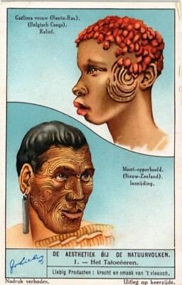 Advertising Liebig Card Aesthetics Of The Natural People Tattooing