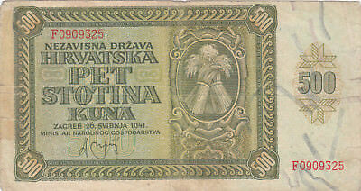 500 Kuna Fine Banknote From Nazi Croatia During Ww2,1941!pick-3