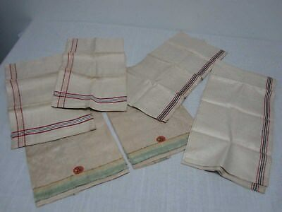 6 ANTIQUE CZECHOSLOVAKIA LINEN KITCHEN DISH TOWELS with STRIPES ~ NOT USED!