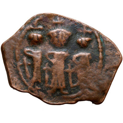 Arab Byzantine Coin Ae Fals Pseudo  638-647 Ad- Three Emperors Stunting  Facing