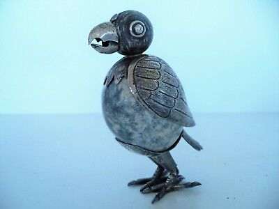 Vintage Sterling Silver Mexico Agate Egg Bird Figurine Statue Signed FC Figure