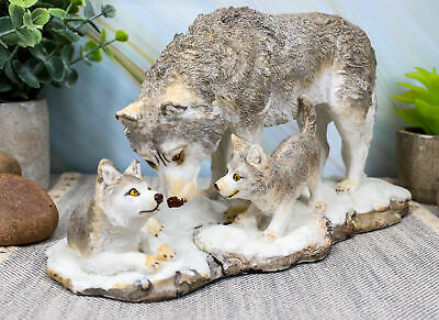 """Denizens Of Twilight Large Winter Snow Wolf Mother And Pups Family Statue 9.75""""L"""