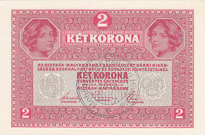 2 Kronen Aunc Note With Stamp From City Of Mohacs,baranya County  1919!r