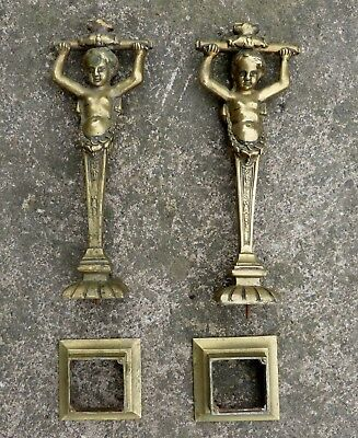Pair Antique French Brass Cherub Putti Figurines on Square Base - Lots of Uses??