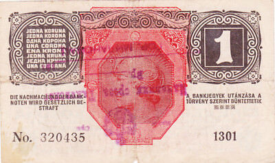 1 Krone Fine Note With A Stamp From Military Of Yugoslavian Kingdom 1919!r