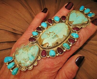 NAVAJO XXXLooong RING - MARY JANE GARCIA -Turquoise,Sterling Silver,Spiny Oyster