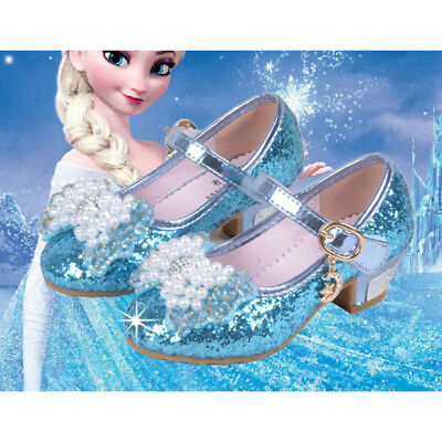 New Children Kids Girls Sandals Frozen Elsa Cosplay Princess Party Pearl Shoes