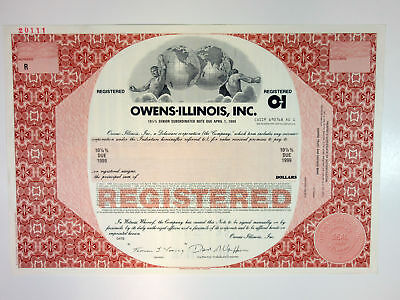 DE. Owens-Illinois, Inc., 1993 $Odd Amount Registered 10 1/4% Specimen Bond, XF