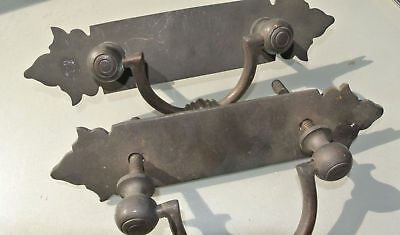 """2 large BOX HANDLES vintage aged style solid Brass DOORS very heavy 10 """" bolt A"""