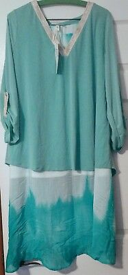 Nwt Ny Collection Matching Turquoise & White Skirt & Shirt Sz X Large And Lg