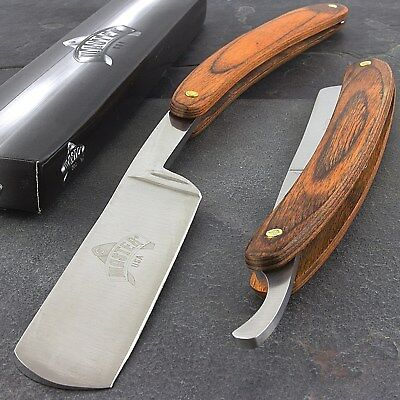 "9.5"" STRAIGHT EDGE FOLDING STEEL RAZOR WOOD HANDLE Shaving Knife Barber Beard"