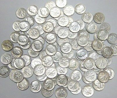 $10.00 Face Value 90% Silver Roosevelt Dimes Great Condition Rolls Not Junk