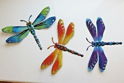 3 Metal Dragonfly Wall Plaques Dragonflies Home Decor Modern Retro  11 In.  New