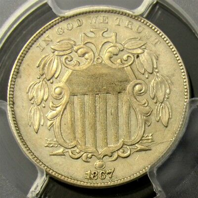 1867 Shield Nickel with Rays - PCGS AU Detail - Great Look, Repunched Date