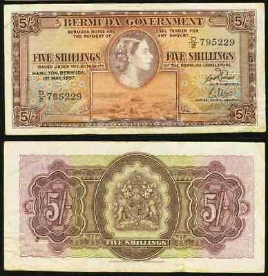 1957 Bermuda 5 Shillings Banknote Pick Number 18b Young Queen Elizabeth II VF