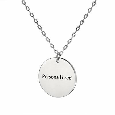 Round Stainless Steel Personalized Engraved Custom Name Pendant Necklace Jewelry
